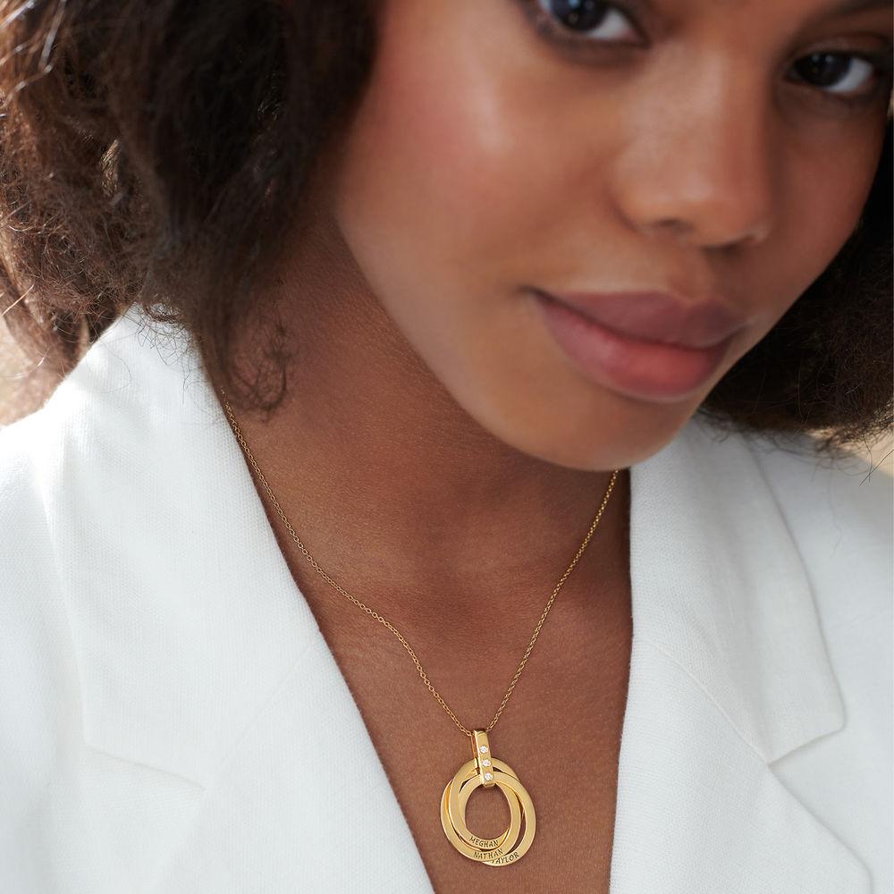 Halskette mit gravierten russischen Ringen aus Gold - Vermeil mit Diamant - 3