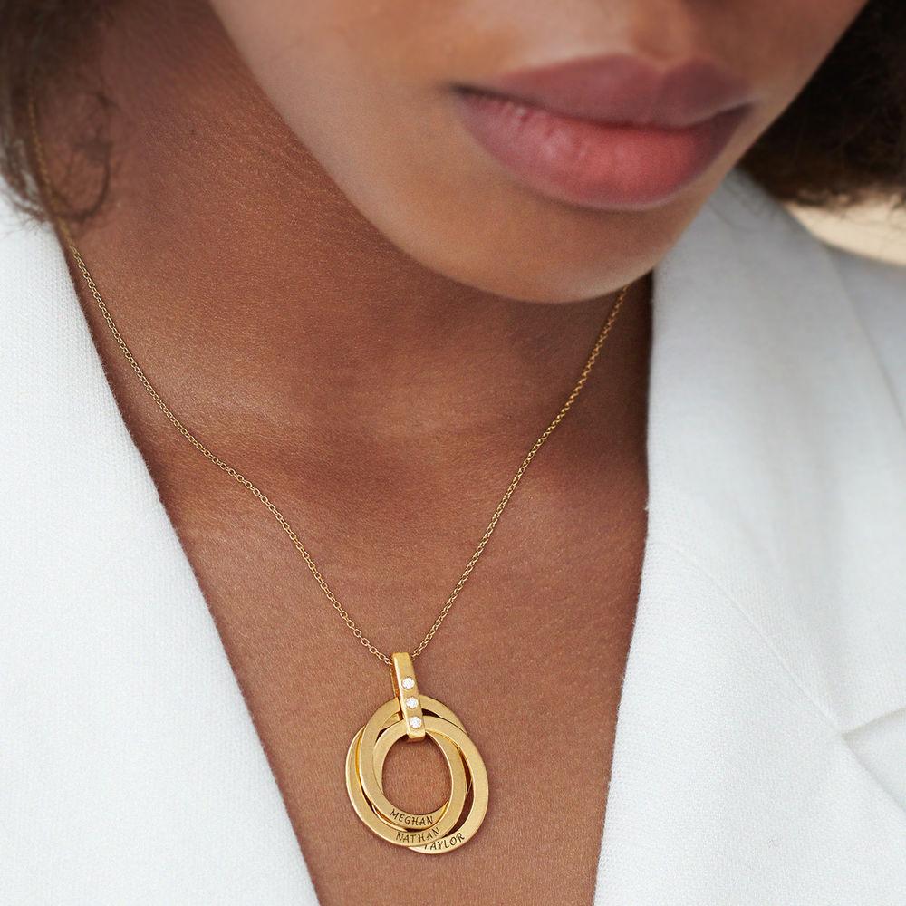Halskette mit gravierten russischen Ringen aus Gold - Vermeil mit Diamant - 4