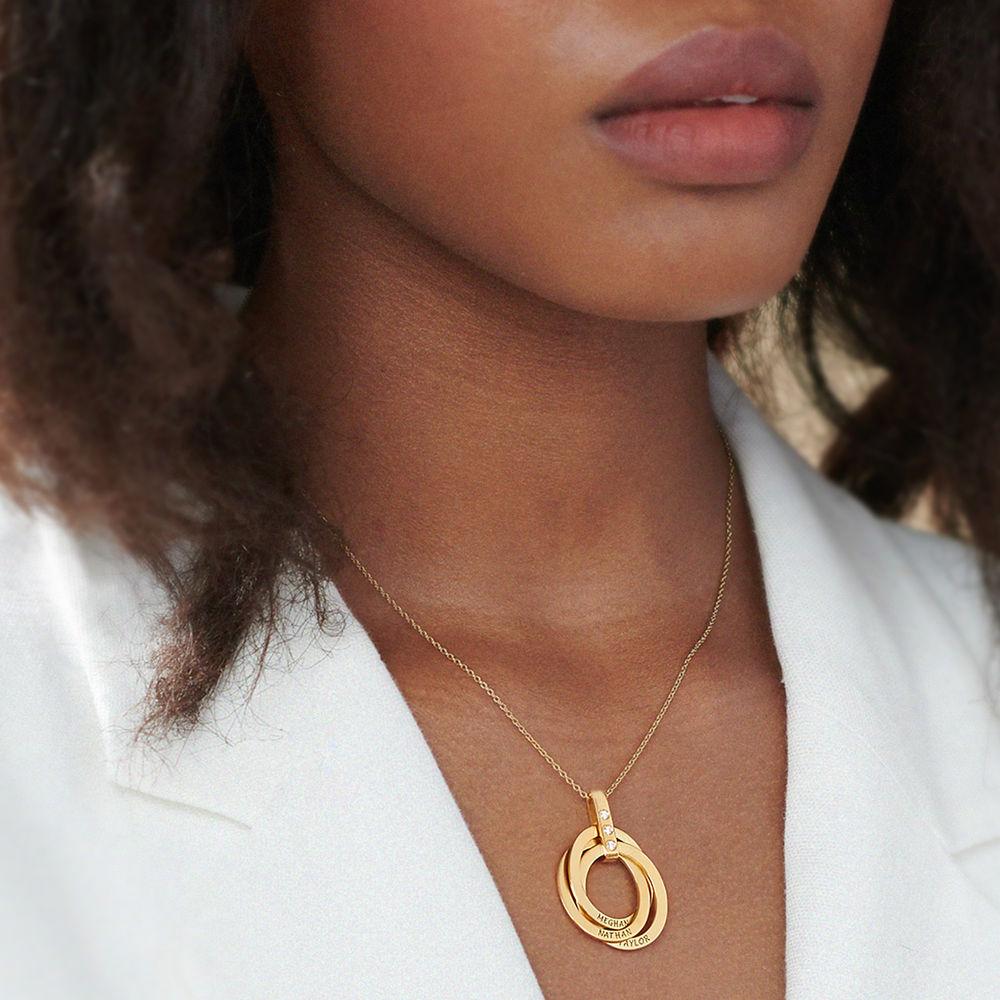 Halskette mit gravierten russischen Ringen aus Gold - Vermeil mit Diamant - 5