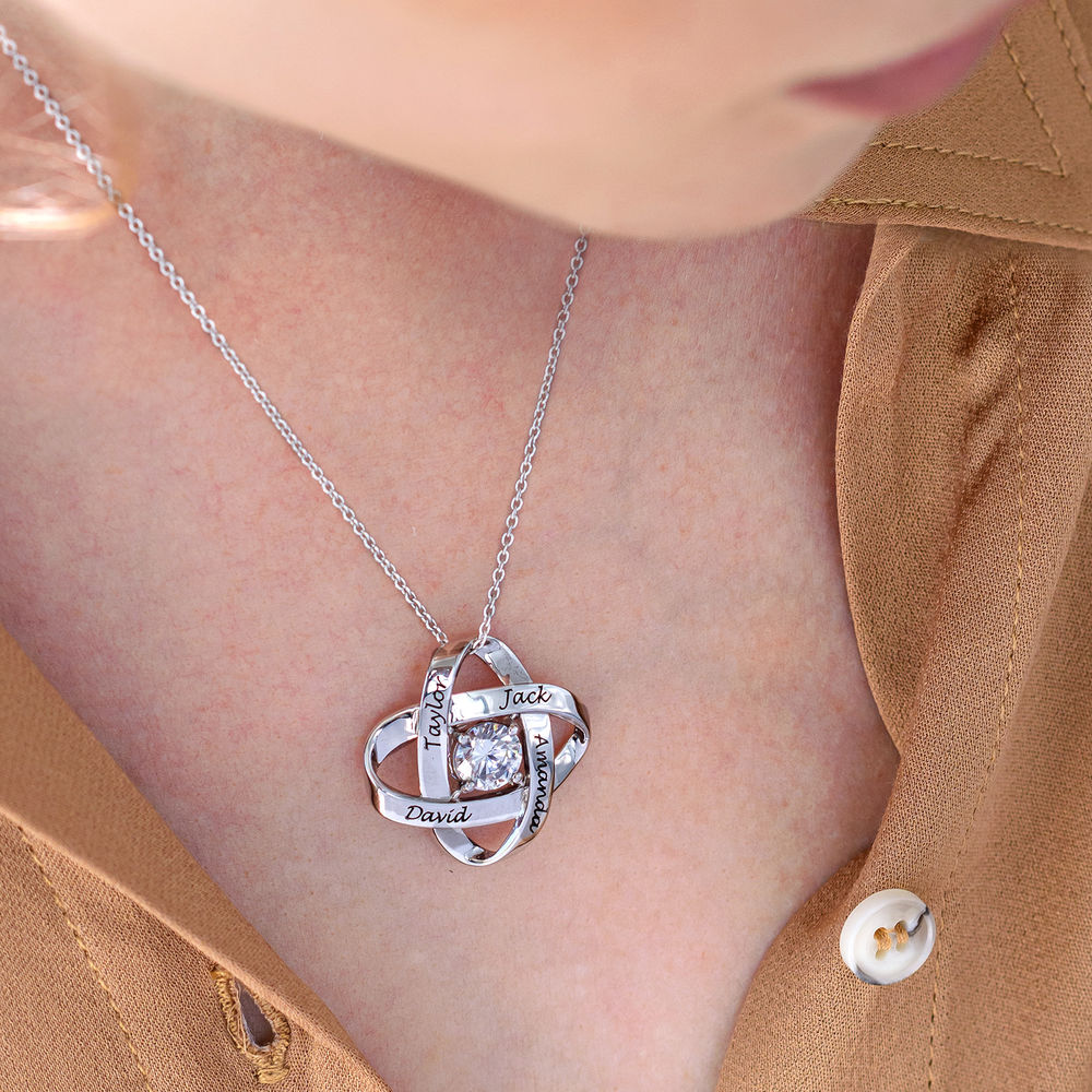 Gravierte Eternal-Halskette mit kubischen Zirkonia in Sterling Silber - 4