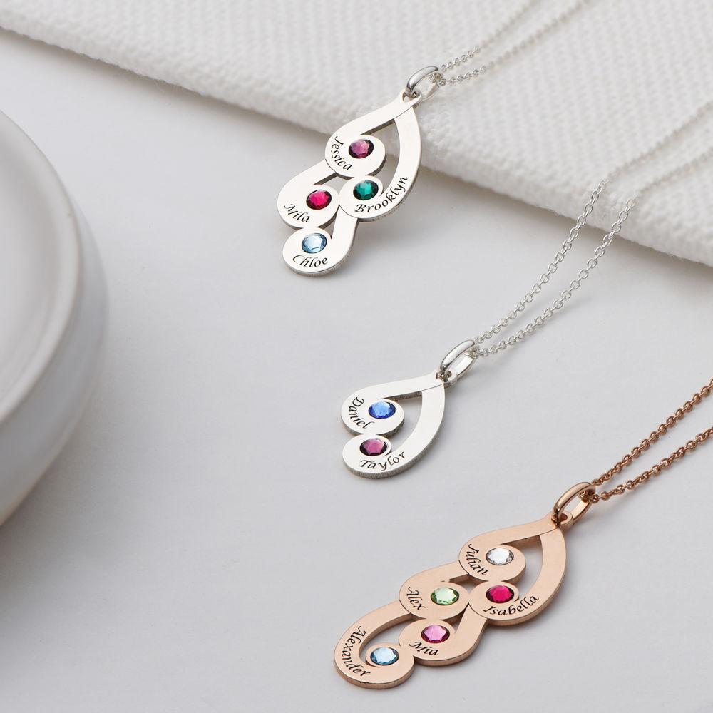 Gravierte Familienanhänger-Halskette mit Geburtssteinen aus Sterlingsilber - 2