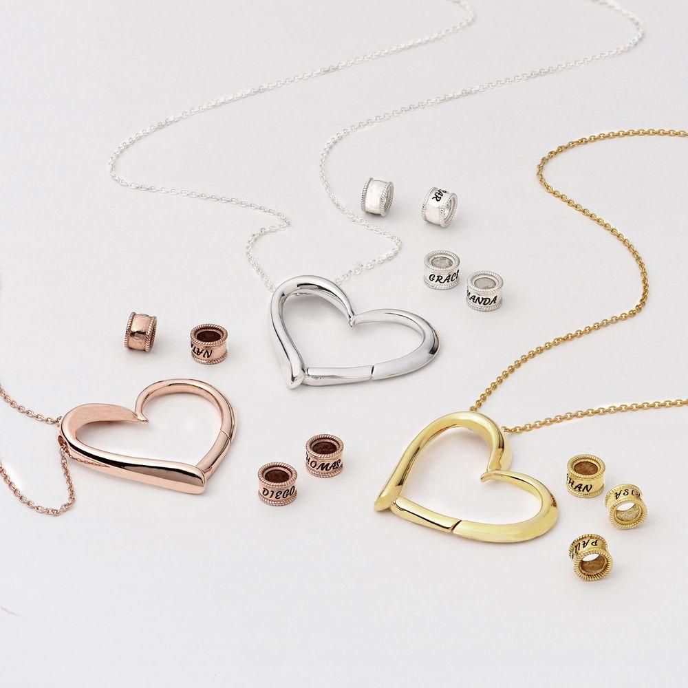 Charmevolle Herz-Halskette mit eingravierten Perlen in Sterling Silber - 3
