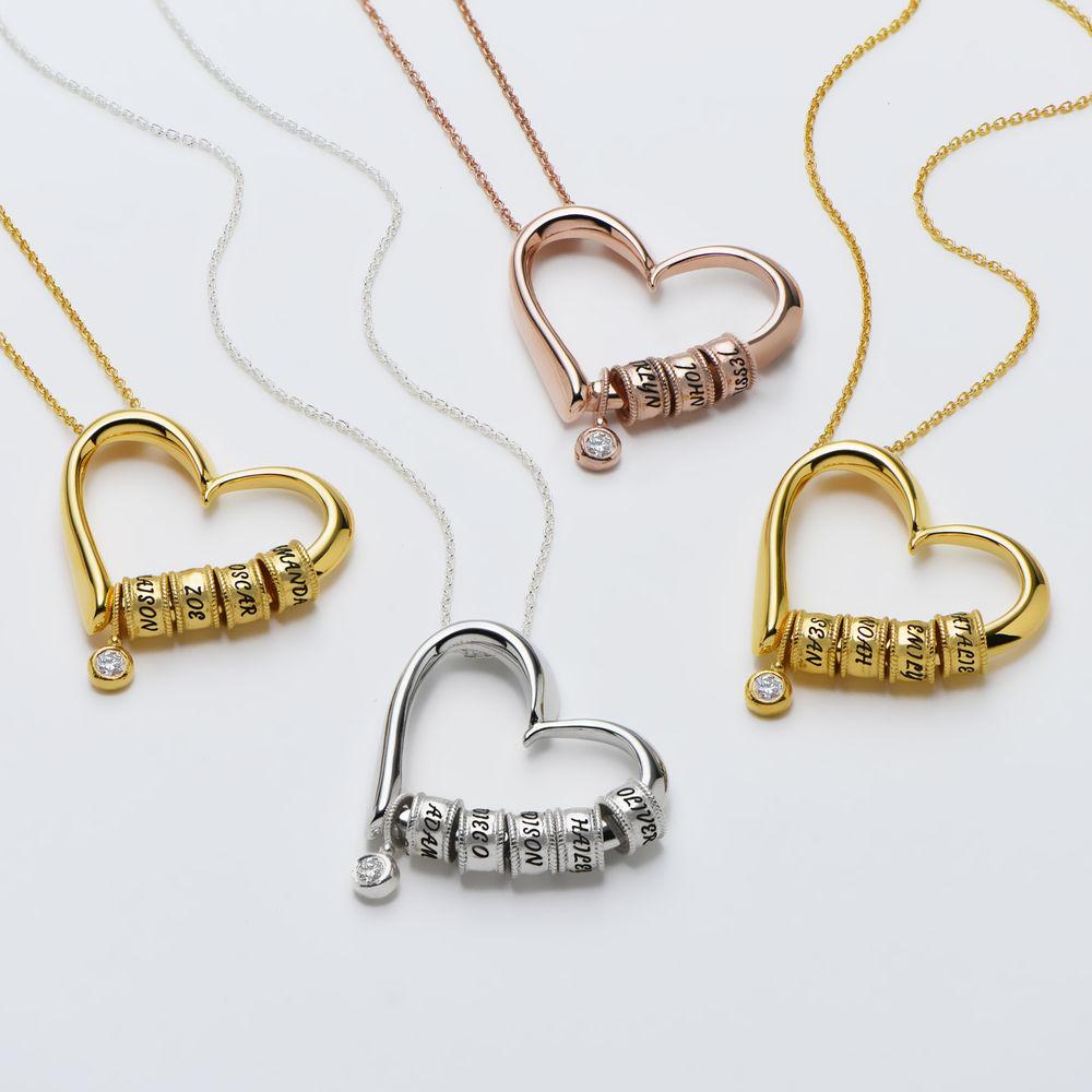 Charmevolle Herz-Halskette mit eingravierten Perlen und Diamant in Gold-Vermeil - 2