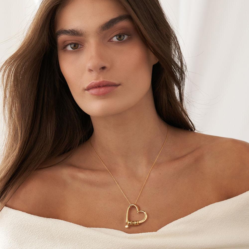 Charmevolle Herz-Halskette mit eingravierten Perlen und Diamant in Gold-Vermeil - 3