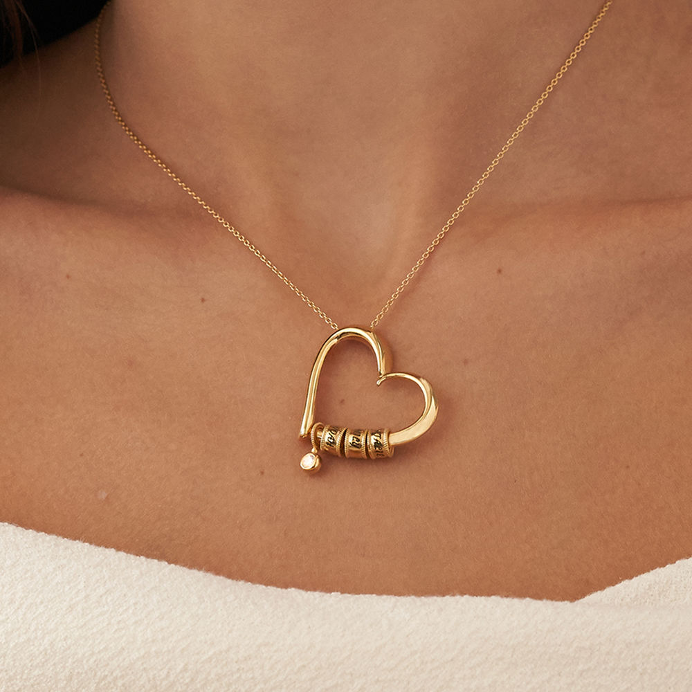 Charmevolle Herz-Halskette mit eingravierten Perlen und Diamant in Gold-Vermeil - 5