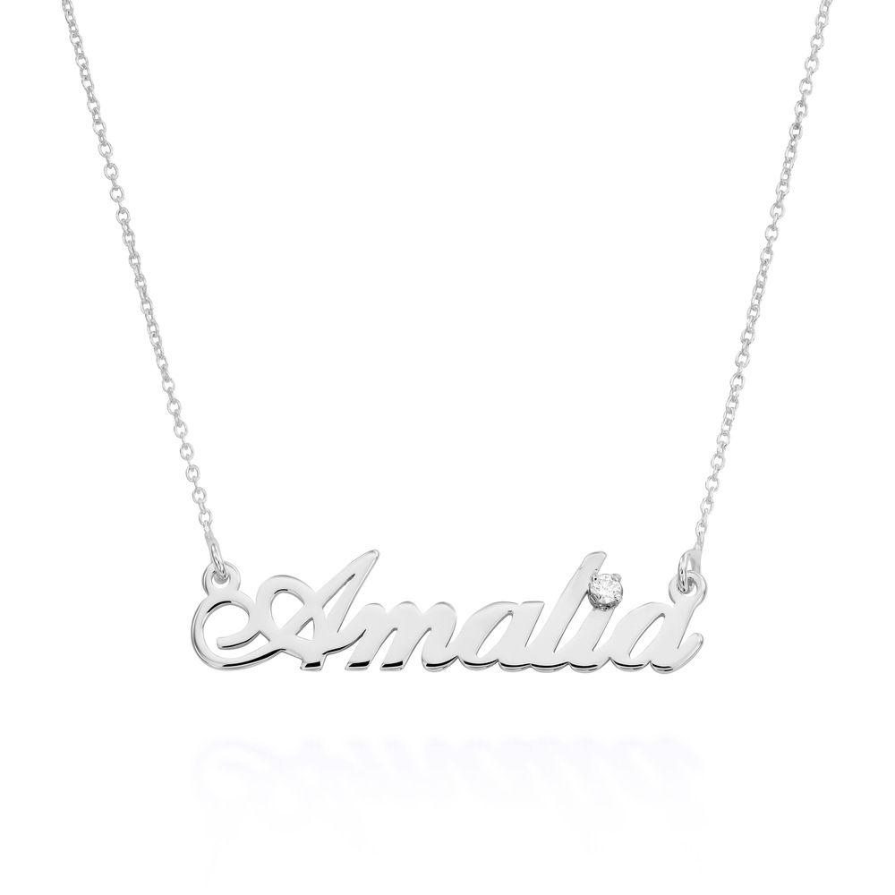 Kleine klassische Namenshalskette mit 0.05 ct Diamant aus Sterlingsilber