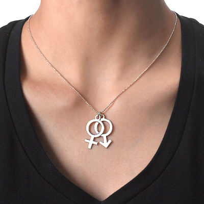 "Gravierbare ""Frau Mann Symbol "" Kette in 925er Silber - 1"