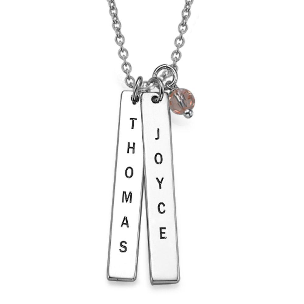 925er Silber Halskette mit graviertem Namensanhänger - 1