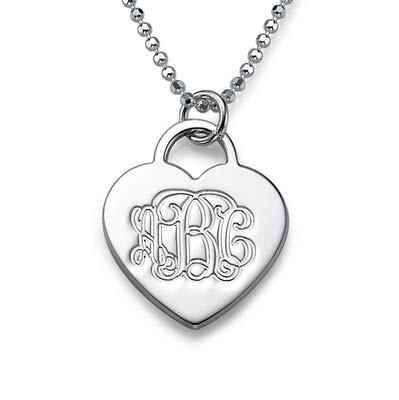 Gravierbare Monogramm Herzkette aus 925er Silber
