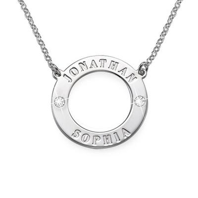 Gravierbare 925er Silber Karma-Kette mit Kristallen