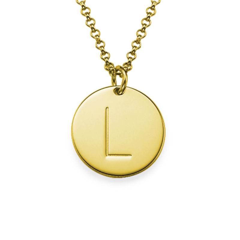 Vergoldete Halskette mit Buchstaben und mit gravierbarem runden Anhänger