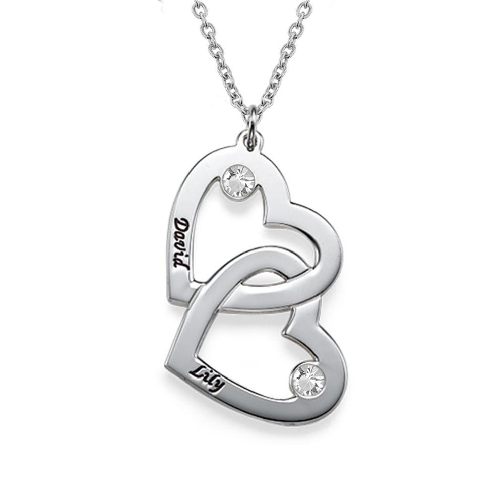 925er Silber Herzkette mit Gravur und Kristall - 1