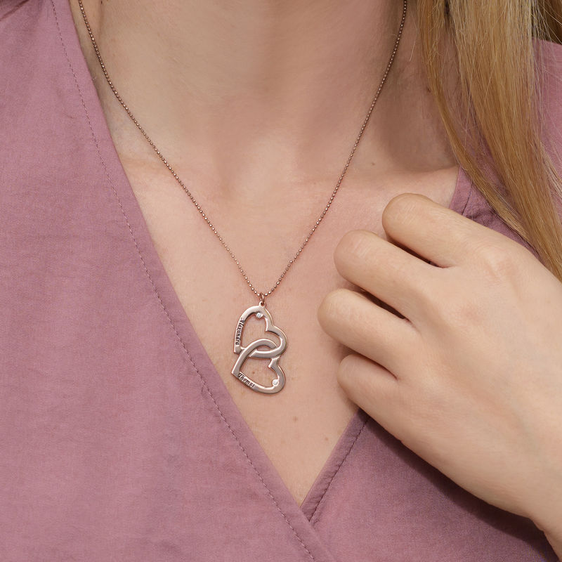Mit Roségold beschichtete Herz-in-Herz-Halskette mit Diamanten - 2