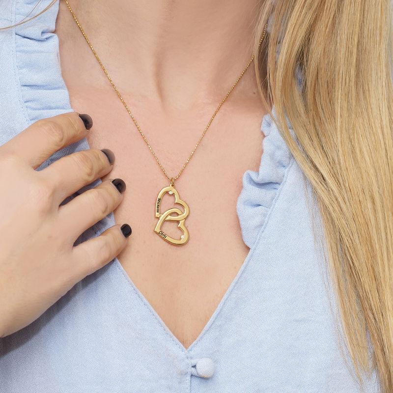 Mit Gold-Vermeil beschichtete Herz-in-Herz-Halskette mit Diamanten - 1