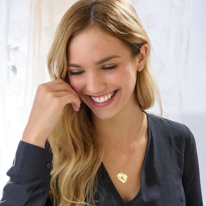 Personalisierte Babyfuß Halskette mit Vergoldung - 1
