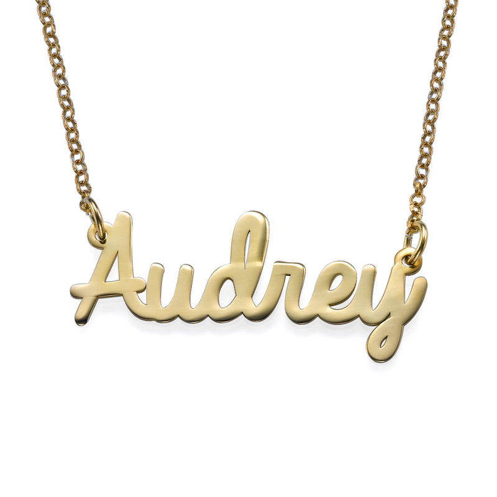 Personalisierter Schmuck – Namenskette in kursiver Schrift in Gold-Vermeil