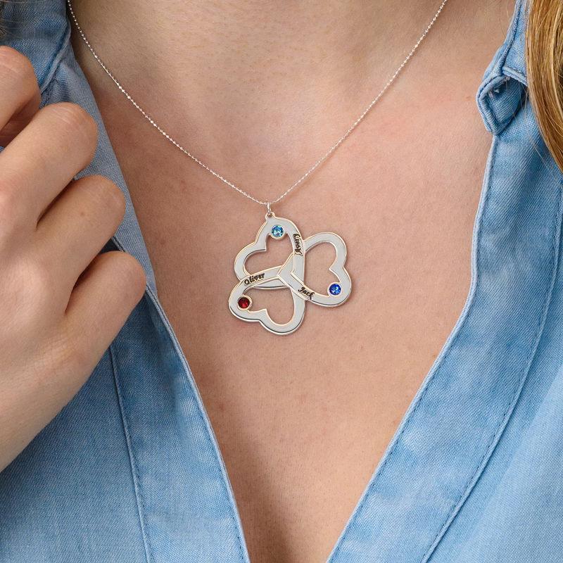 Dreier-Herzkette für Mutter mit Gravur aus 417er-Weißgold - 2