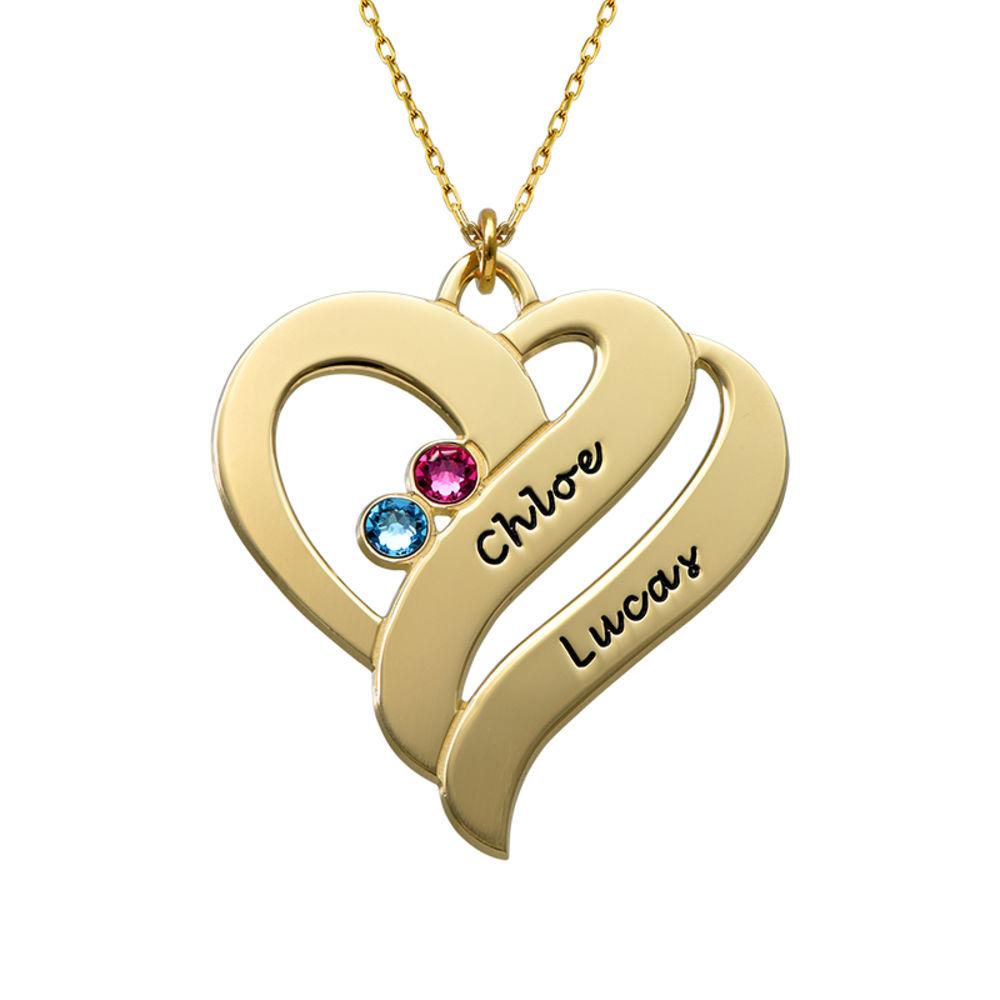 Geburtssteinkette aus 417er Gold mit zwei Herzen für Mütter
