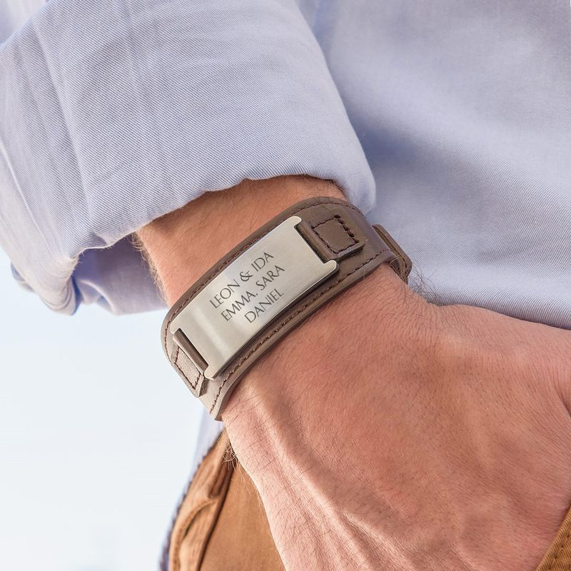 ID-Armband für Männer aus braunem Leder - 3