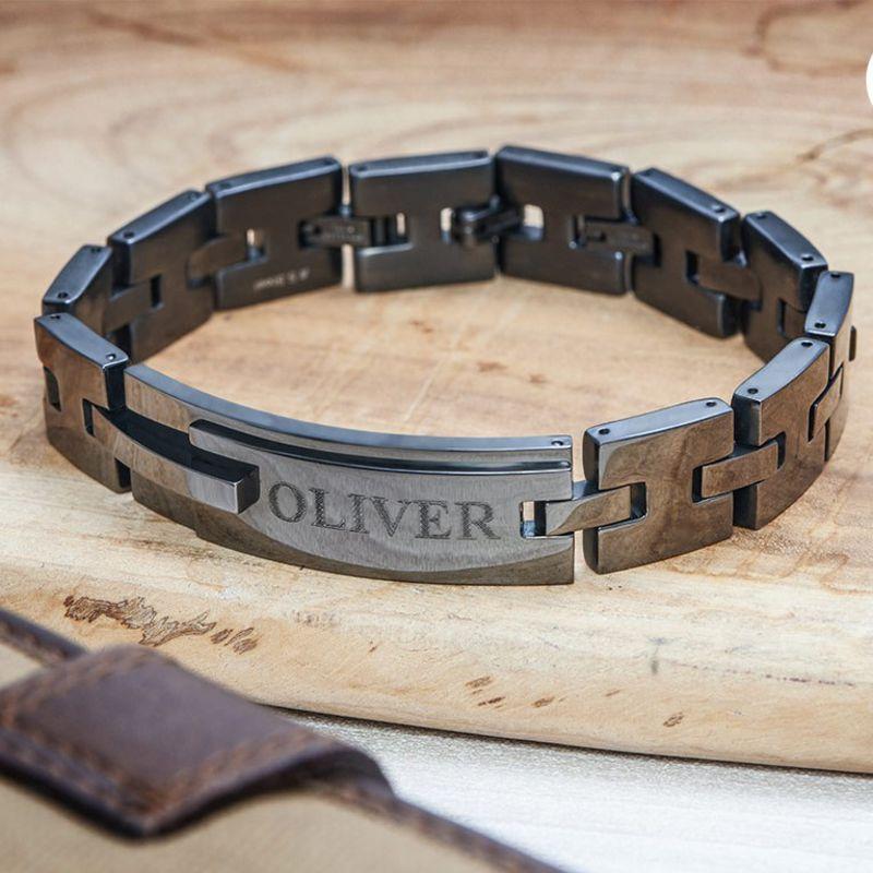 Schwarzes, gravierbares Panzer-Armband für Männer - 3