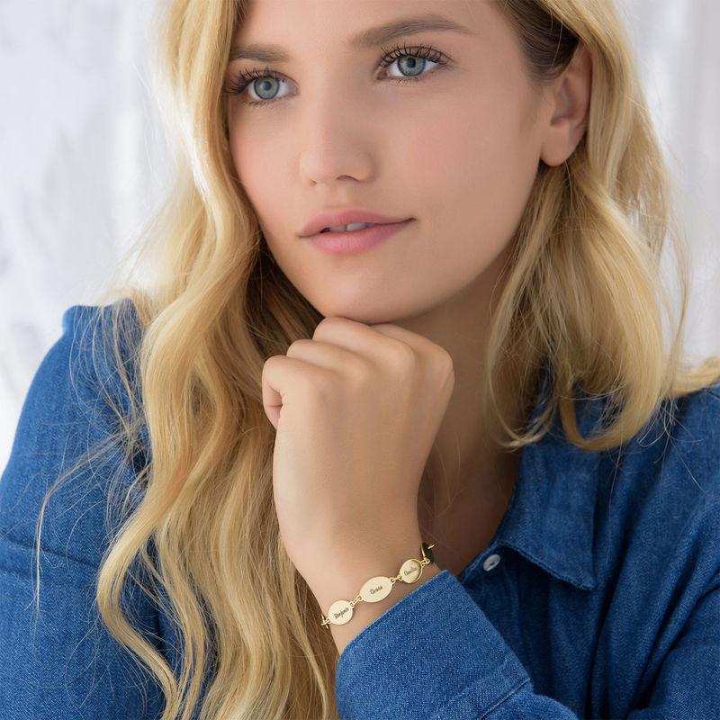 Gold-Vermeil Armband für Mütter mit Kindernamen – Ovales Design - 5