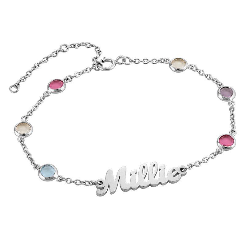 Namensarmband mit mehrfarbigen Steinen aus Silber