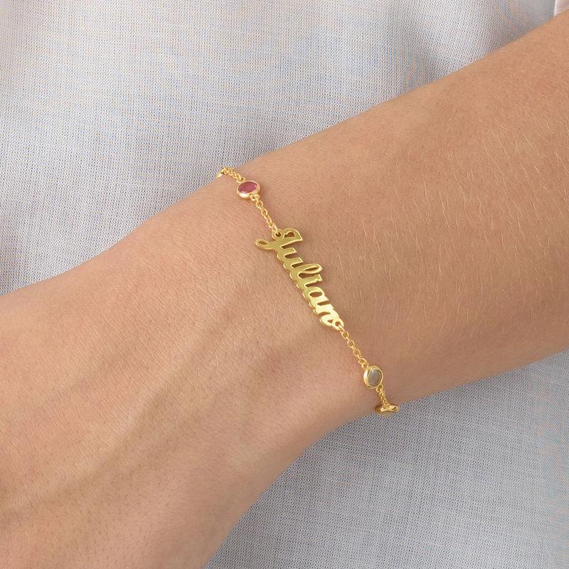 Namensarmband mit mehrfarbigen Steinen und Goldbeschichtung - 2