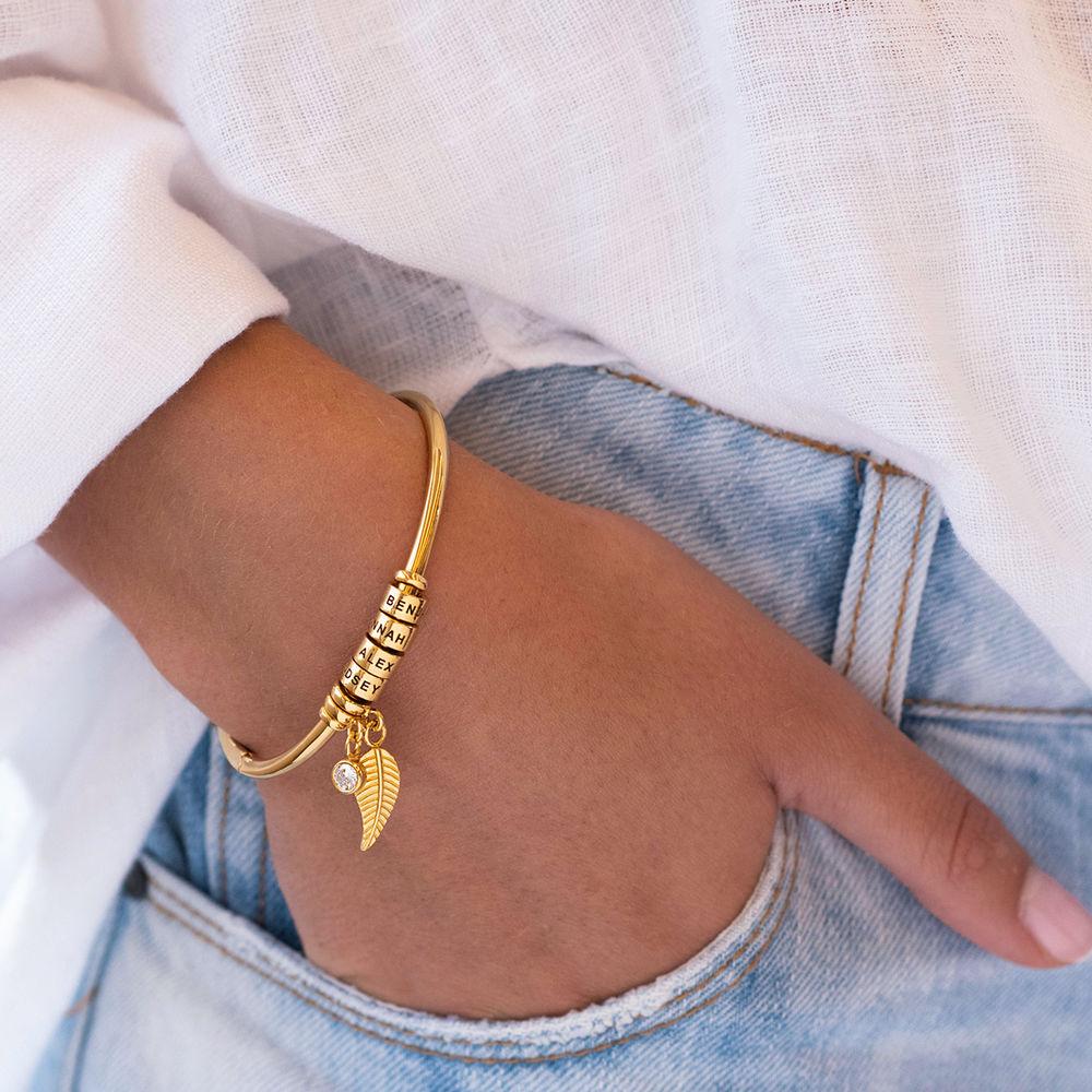 Kreisanhänger-armreif mit Blatt und personalisierten Beads™ in 750er-Gold-Beschichtung mit Diamant - 4
