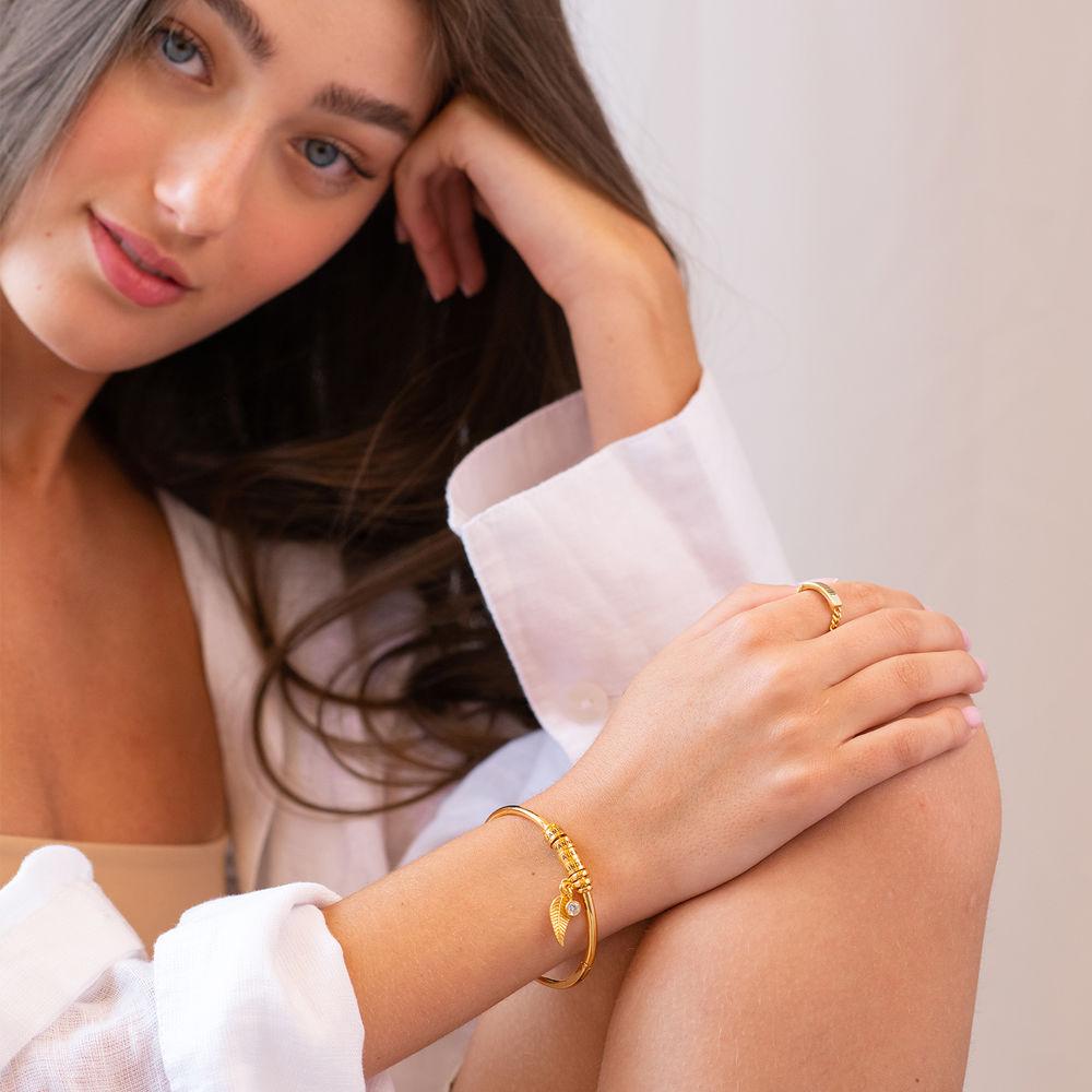 Kreisanhänger-armreif mit Blatt und personalisierten Beads™ in 750er-Gold-Beschichtung mit Diamant - 5