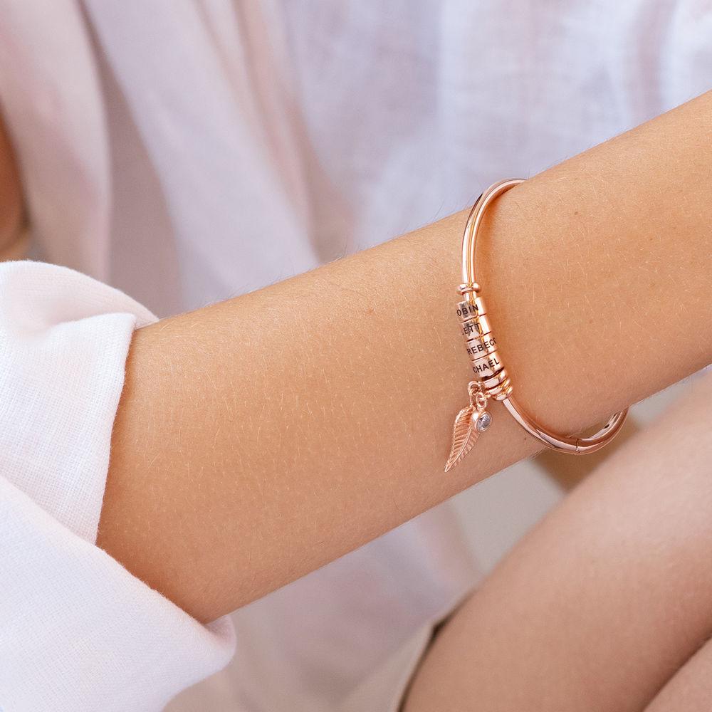 Kreisanhänger-armreif mit Blatt und personalisierten Beads™ in 750er-Roségold-Beschichtung mit Diamant - 3