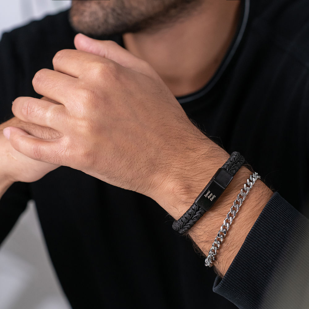 Flaches geflochtenes  Herrenlederarmband in Schwarz - 2