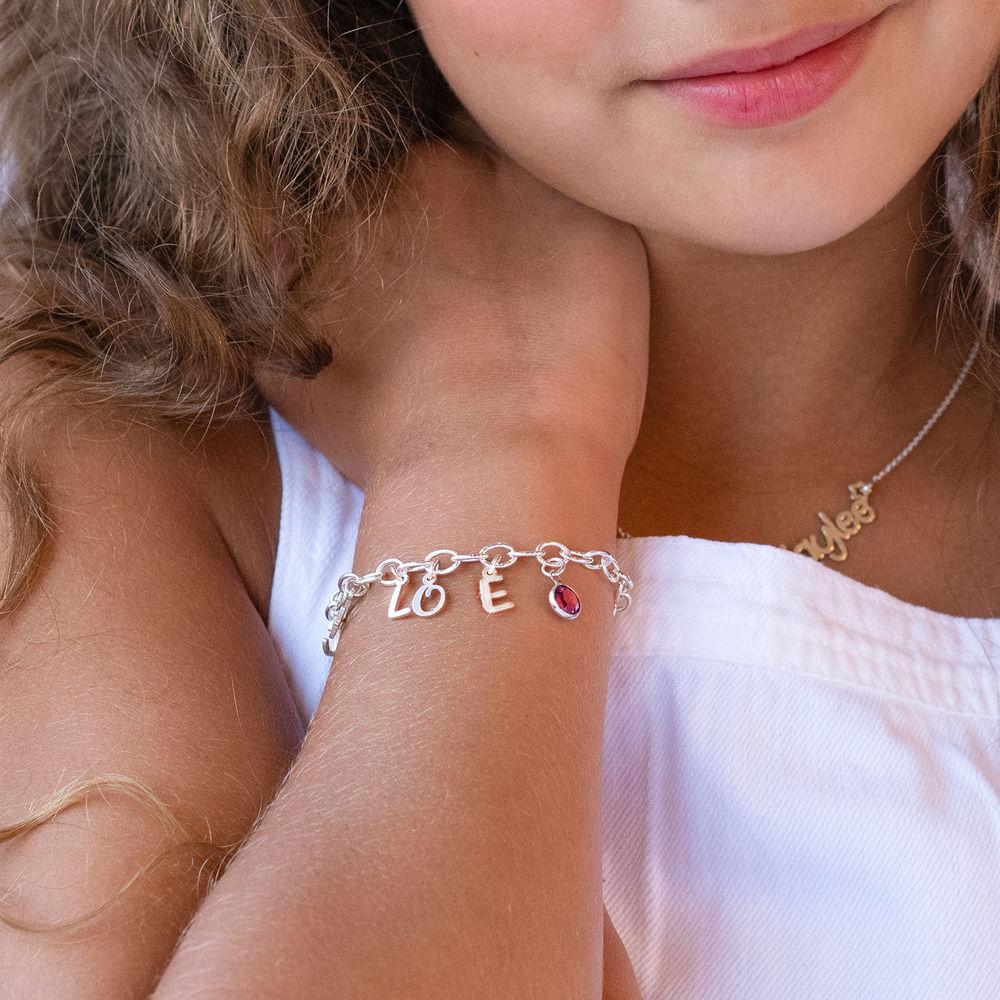 Buchstaben Charm - Armband für Mädchen in Sterling Silber - 1