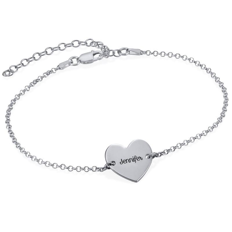 Gravierbare Fußkette mit Herz aus Silber
