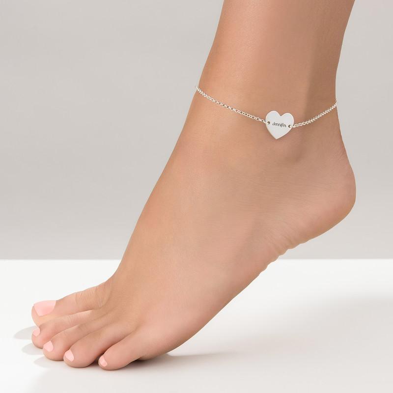 Gravierbare Fußkette mit Herz aus Silber - 1