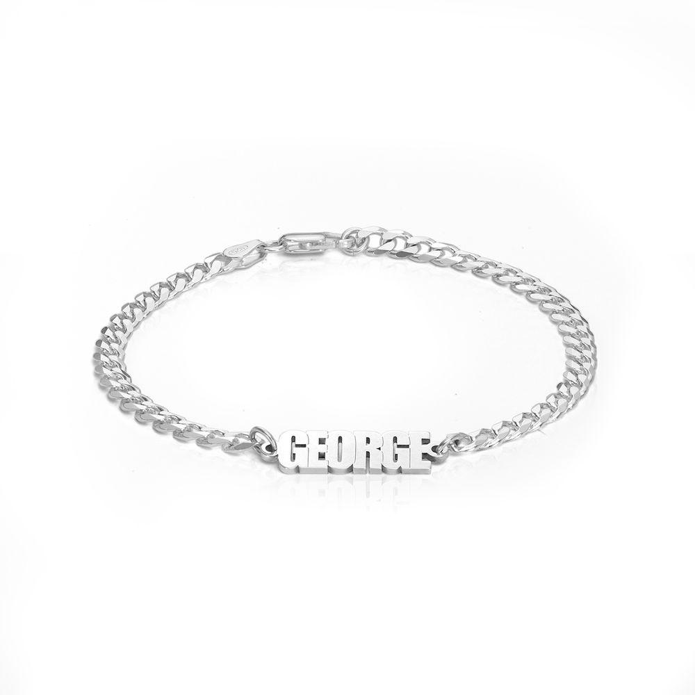 Namensarmband mit breiter Kette in Sterling Silber