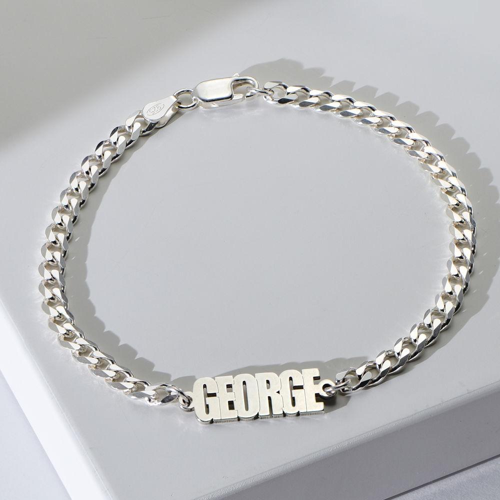 Namensarmband mit breiter Kette in Sterling Silber - 1