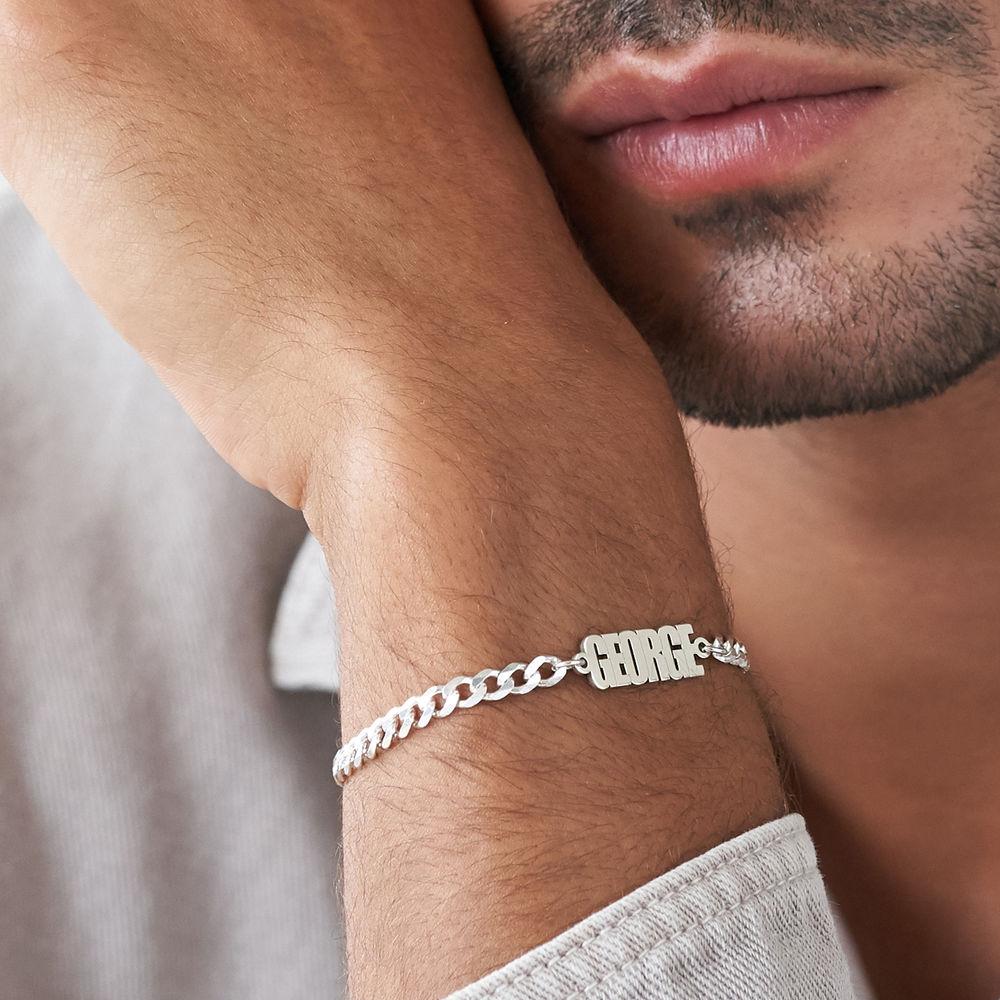 Namensarmband mit breiter Kette in Sterling Silber - 3