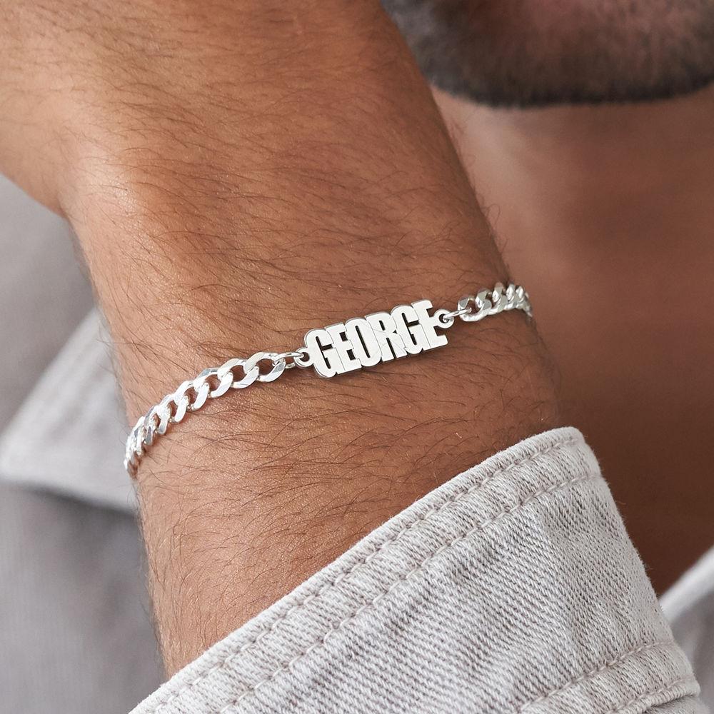 Namensarmband mit breiter Kette in Sterling Silber - 4
