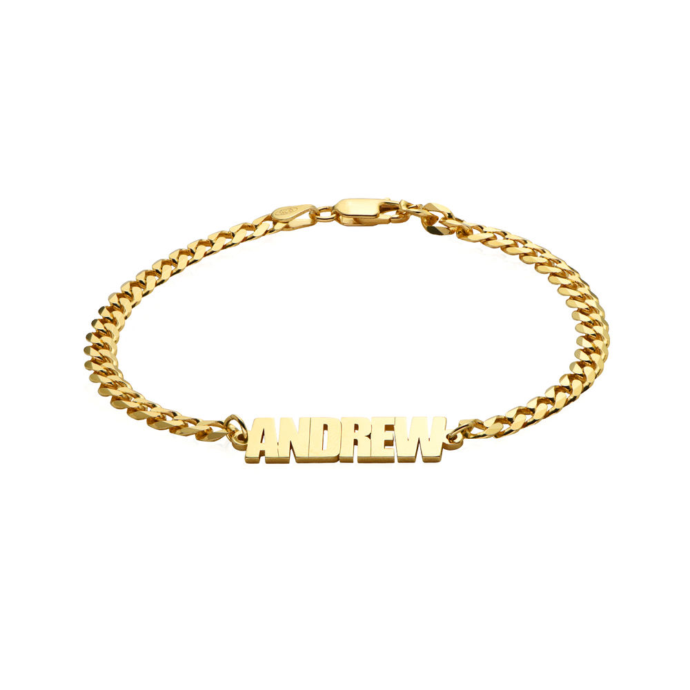 Namensarmband mit breiter Kette mit Goldplattierung