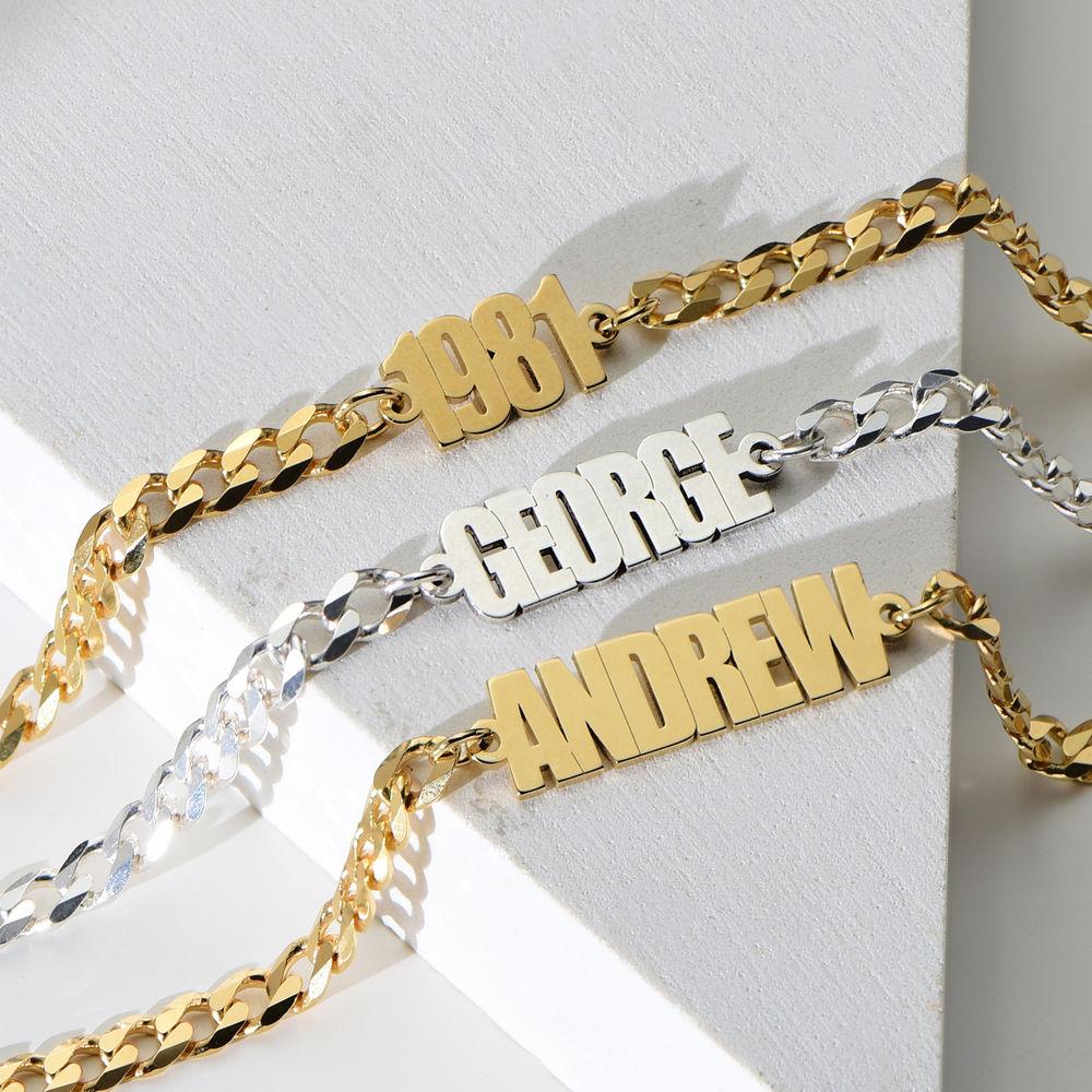 Namensarmband mit breiter Kette mit Goldplattierung - 1