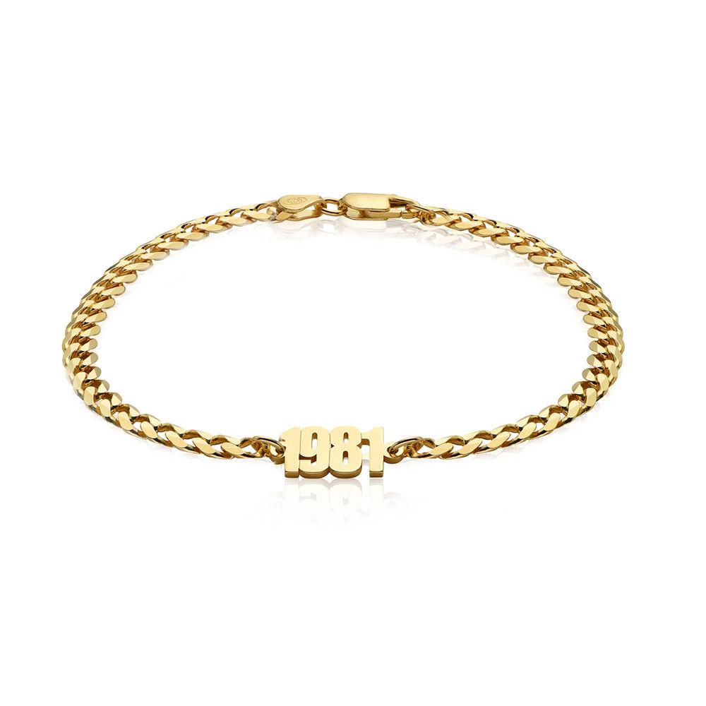 Namensarmband mit breiter Kette in Gold-Vermeil