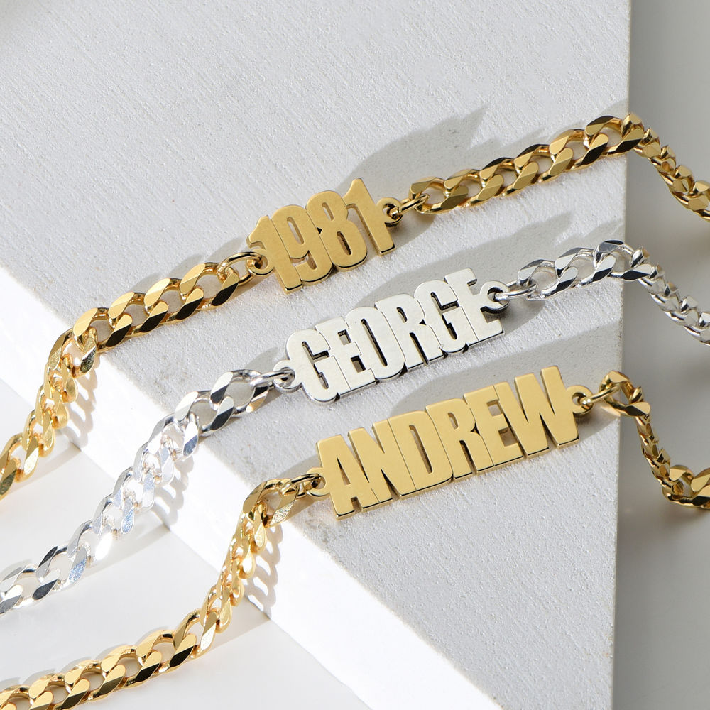 Namensarmband mit breiter Kette in Gold-Vermeil - 1