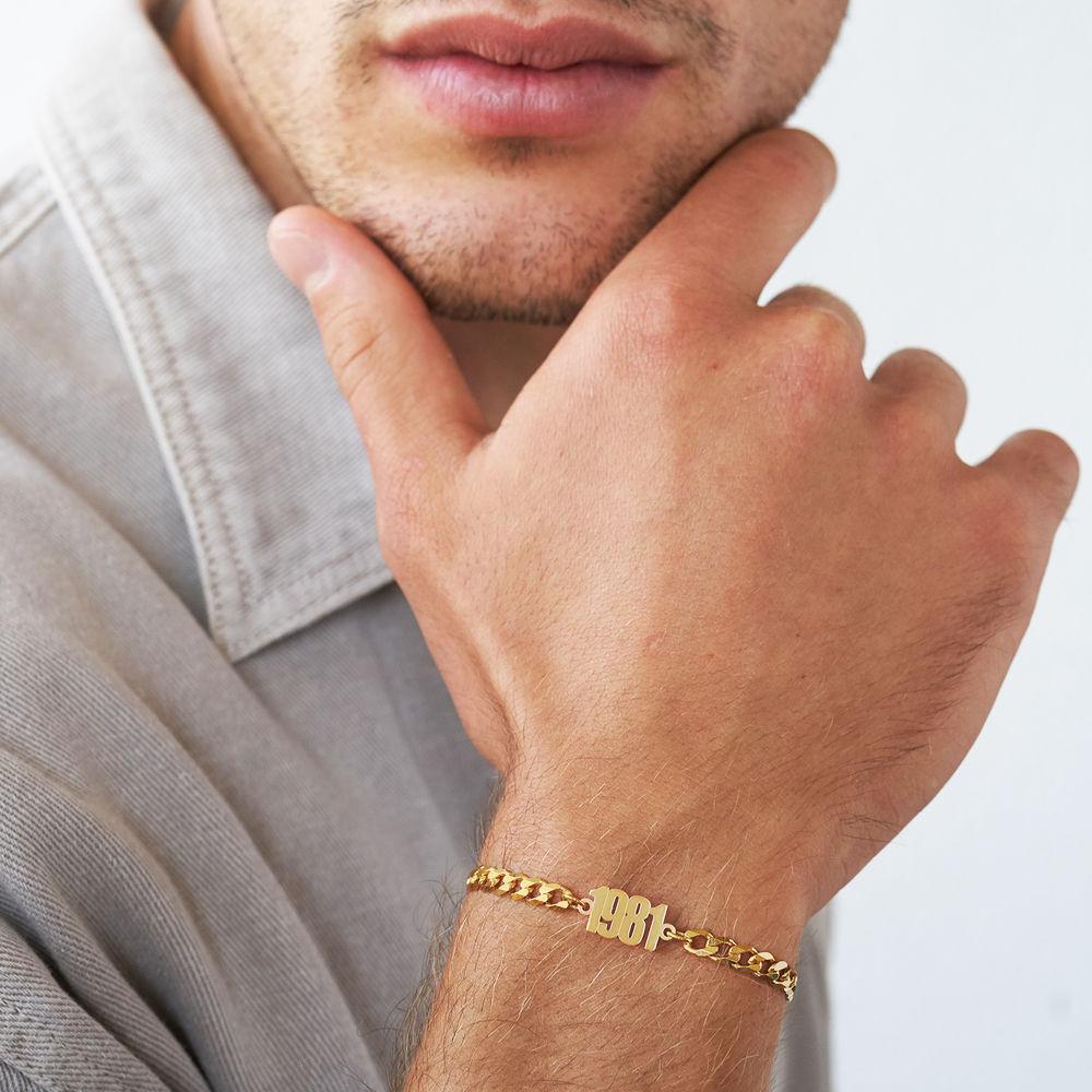 Namensarmband mit breiter Kette in Gold-Vermeil - 2