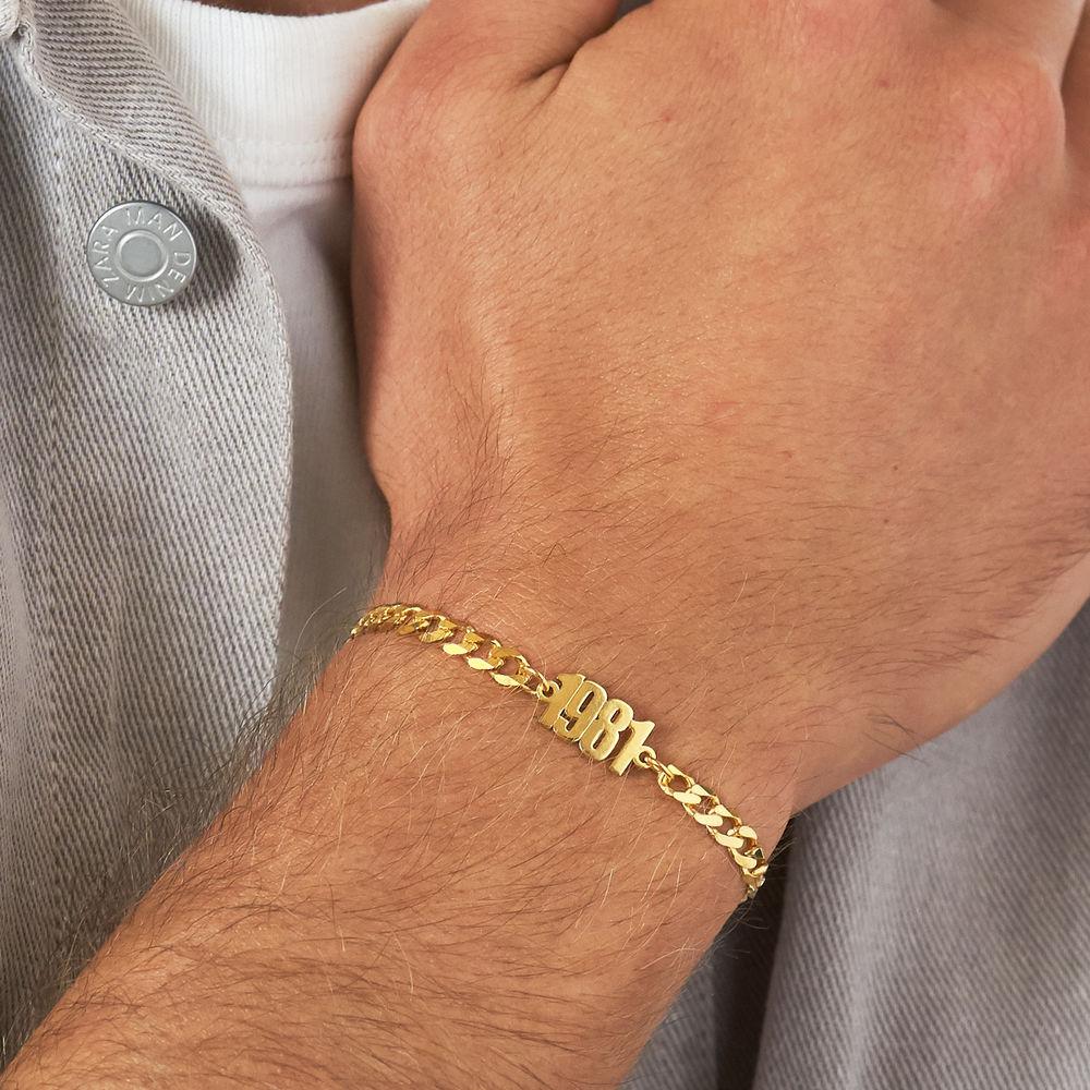Namensarmband mit breiter Kette in Gold-Vermeil - 3