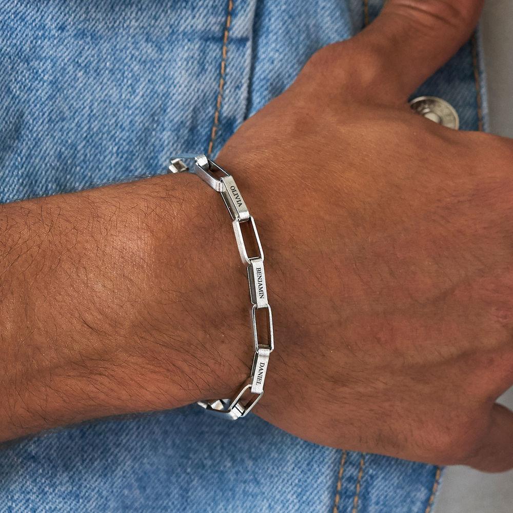 Personalisiertes Gliederarmband für Männer in mattem Silber - 3