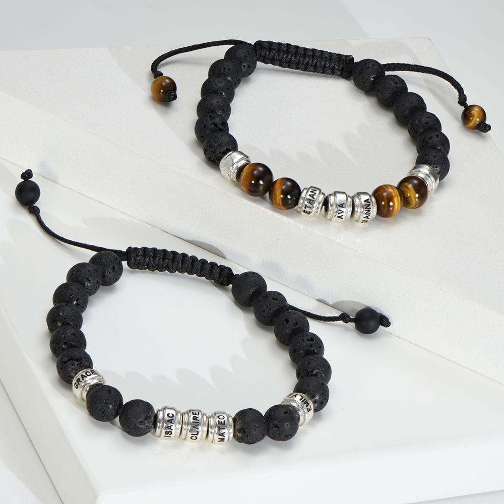 Perlenarmband mit braunen Tigeraugen und schwarzen Lavasteinen für Männer - 1