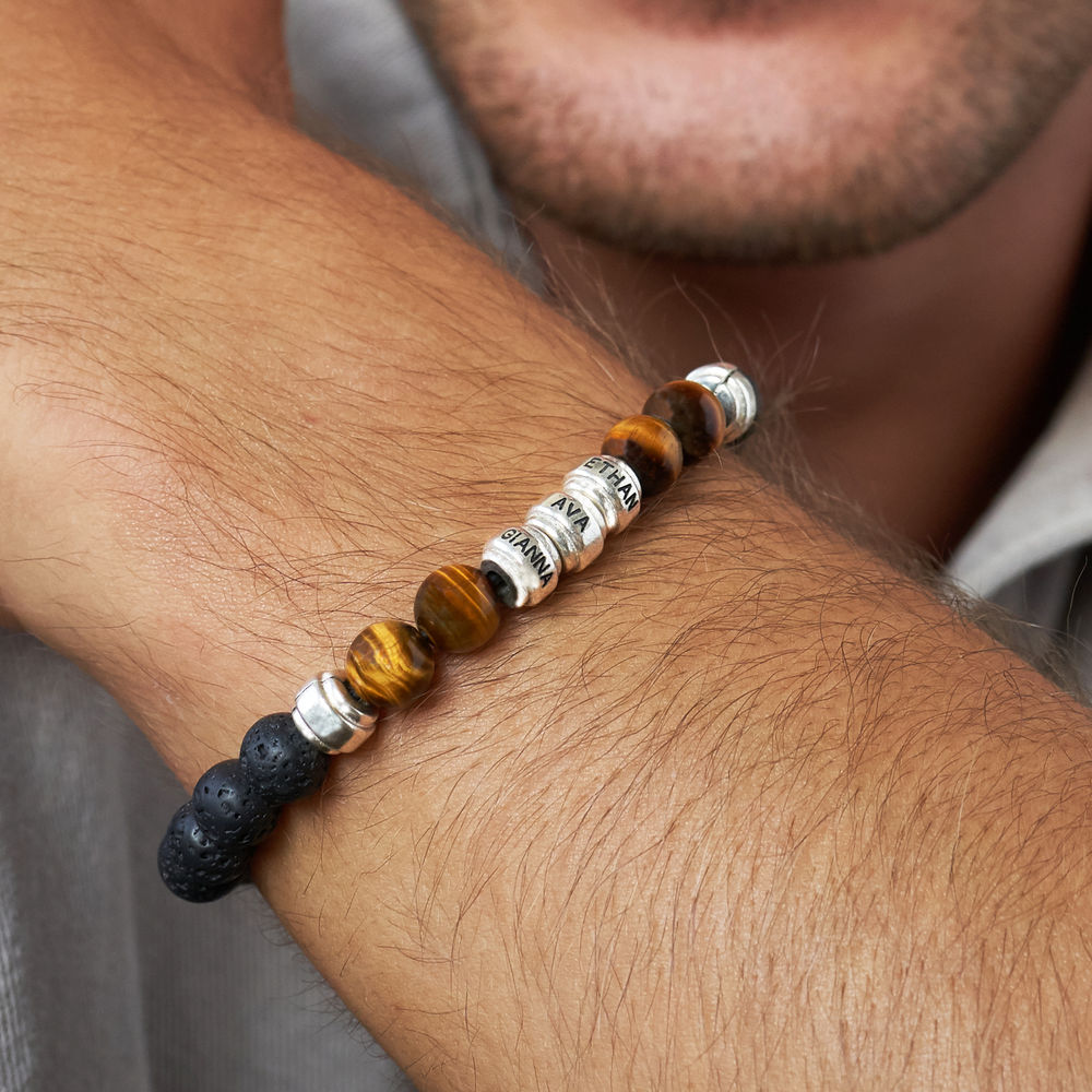 Perlenarmband mit braunen Tigeraugen und schwarzen Lavasteinen für Männer - 3