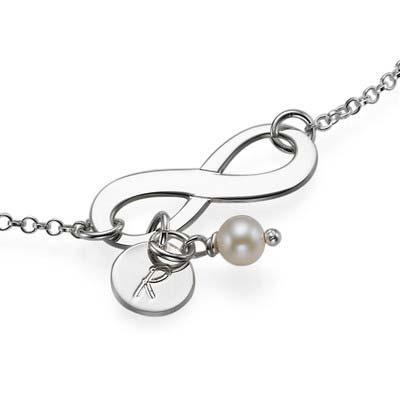 Silber Infinity-Armband mit Initiale und Süßwasserperle - 1
