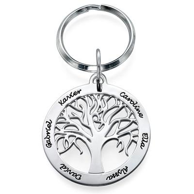 Familienbaum-Schlüsselanhänger aus Silber mit Gravur