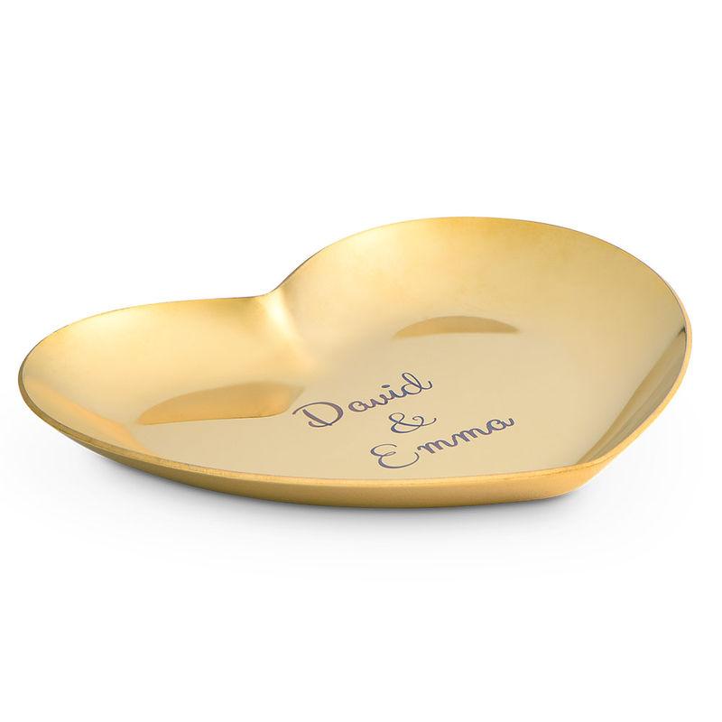 Herzförmige goldfarbene Schmuckablage mit Gravur - 1